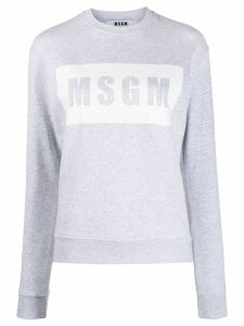MSGM Box logo print sweater - Grey