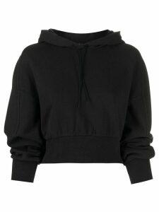 Y-3 logo print cropped hoodie - Black