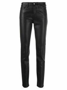 Emporio Armani faux-leather skinny trousers - Black