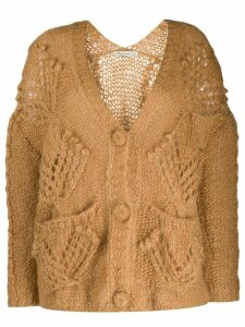 Mes Demoiselles chunky knit cardigan - Brown