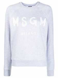MSGM logo print crew neck sweater - Grey