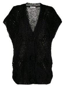 Mes Demoiselles short-sleeved knit cardigan - Black