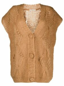 Mes Demoiselles short-sleeved knit cardigan - Brown
