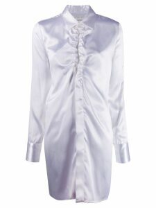 Bottega Veneta ruffled neckline long shirt - White