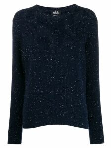 A.P.C. knitted flecked jumper - Blue
