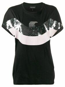 Emporio Armani sequinned eagle T-shirt - Black