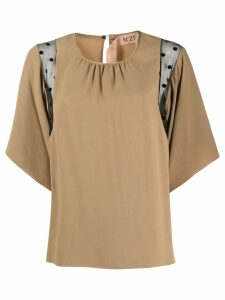 Nº21 sheer panels blouse - NEUTRALS