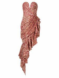 Rasario leopard-print asymmetric dress - Red