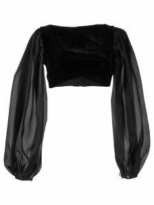 Rasario puff sleeve velvet top - Black