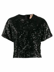Nº21 cropped sequinned T-shirt - Black