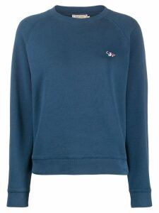Maison Kitsuné tricolor fox-appliqué sweatshirt - Blue