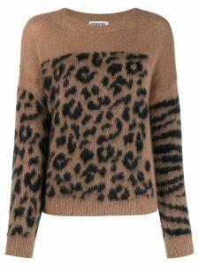 Essentiel Antwerp crew-neck animal pattern sweater - NEUTRALS