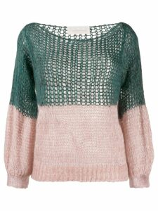 Chiara Bertani colour block cardigan - Green