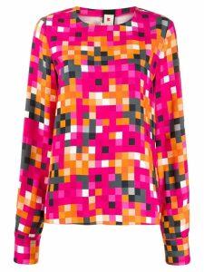 Marni pixel-print long-sleeve blouse - Pink