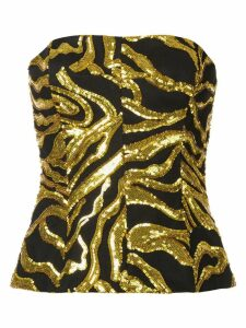 Halpern sequin embroidered crop top - GOLD