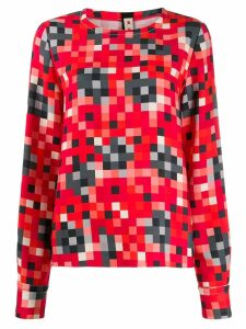 Marni pixel-print long-sleeve blouse - Red