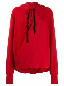 Ann Demeulemeester wrap front hoodie - Red