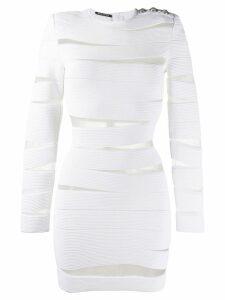 Balmain sheer panels short dress - White