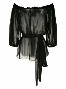 Andrea Bogosian gathering silk blouse - Black