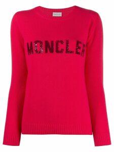 Moncler sequin logo jumper - PINK