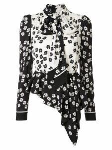 Self-Portrait asymmetric floral-print blouse - Black