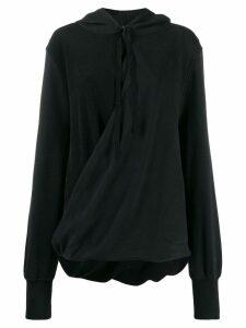 Ann Demeulemeester wrap drawstring hoodie - Black