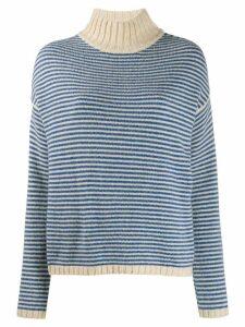Roberto Collina striped contrast-trimmed jumper - Blue