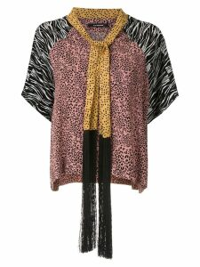 À La Garçonne fringed shawl blouse - Multicolour