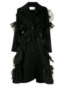 Roberts Wood cut-out ruffle coat - Black
