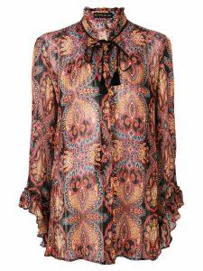 Etro ruffle trim printed blouse - Black