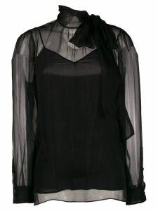 Valentino chiffon pussybow blouse - Black