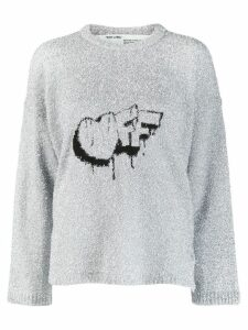 Off-White Off crew neck jumper - SILVER