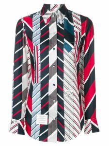 Thom Browne Repp stripe tie collage silk shirt - Blue