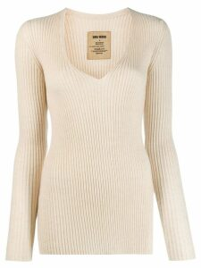 Uma Wang ribbed knitted jumper - NEUTRALS