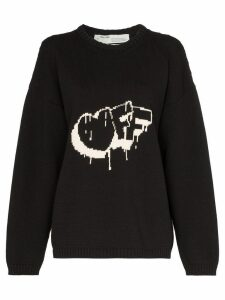 Off-White logo knitted jumper - Black