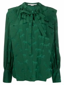 Stella McCartney horses-jacquard tie-neck blouse - Green