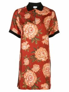 Salvatore Ferragamo peony print silk blouse - ORANGE