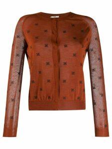 Fendi round neck cardigan - Brown