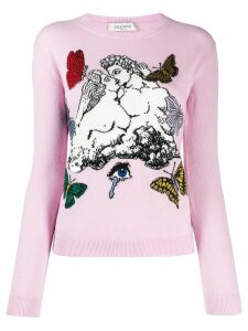 Valentino jacquard knitted jumper - PINK