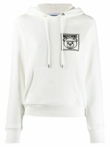 Moschino bear logo print hoodie - White