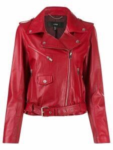 Arma leather biker jacket - Red