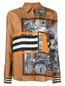 Burberry graphic print silk shirt - Brown