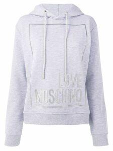 Love Moschino logo print hoodie - Grey