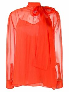 Valentino pussy-bow chiffon blouse - ORANGE