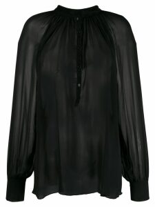 Kristensen Du Nord sheer pleated blouse - Black