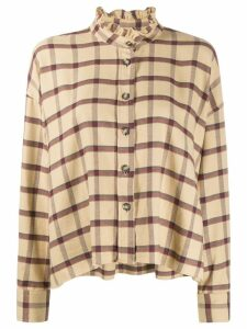 Isabel Marant Étoile ruffle-neck plaid shirt - NEUTRALS