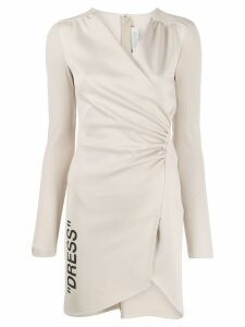 Off-White ribbed sleeve ruched dress - NEUTRALS
