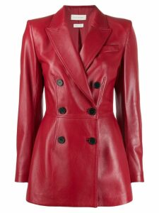 Alexander McQueen square shoulder double-breasted jacket - Red