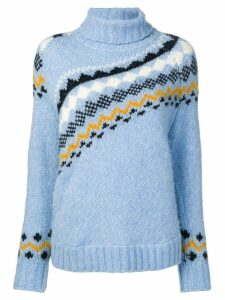 Derek Lam 10 Crosby diagonal fair isle sweater - Blue