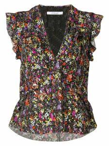 Derek Lam 10 Crosby sleeveless floral ruffle top - Black